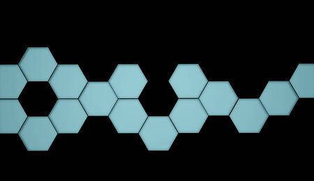 Blue hexagonal background on black photo