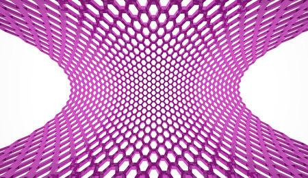Purple hexagonal mesh rendered on white background photo