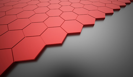 Red hexagonal abstract background rendered