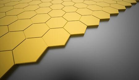 Yellow hexagonal background rendered photo
