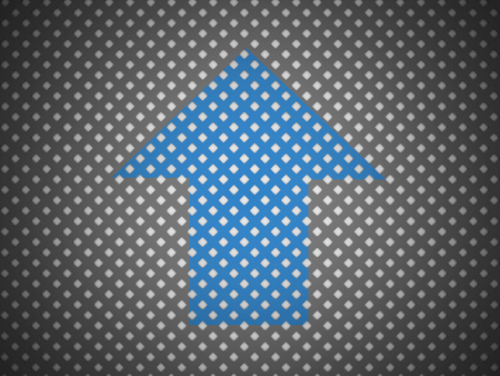 Blue arrow on mesh background rendered photo