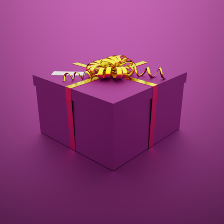 Christmas present on purple background