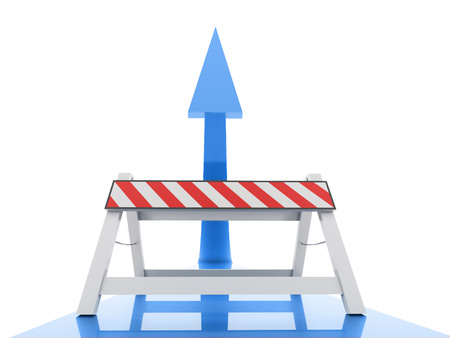 closed parking: Blue up arrow with road barrier rendered on white background Stock Photo