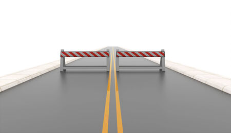 Road with two road barriers rendered on white photo