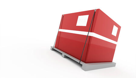 boxboard: Red box on palette rendered isolated on white background