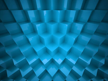 Blue abstract cubes background rendered photo