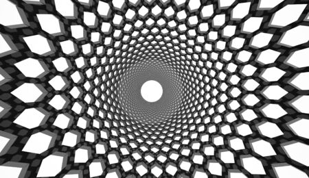 hexagonal: Black hexagonal mesh background Stock Photo