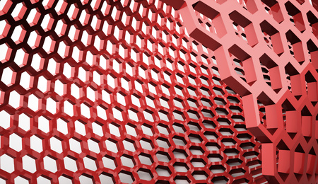 Red abstract hexagonal background rendered photo