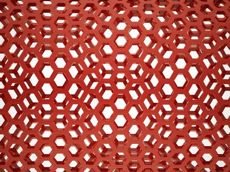 Red hexagonal mesh rendered photo
