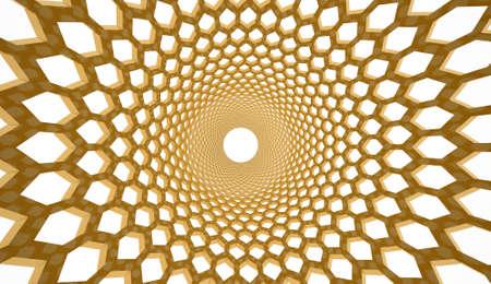 hexagonal: Yellow hexagonal mesh rendered Stock Photo