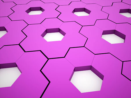 rendered: Pink hexagonal gears background rendered Stock Photo