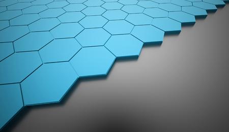 hexagonal: Blue hexagonal background rendered