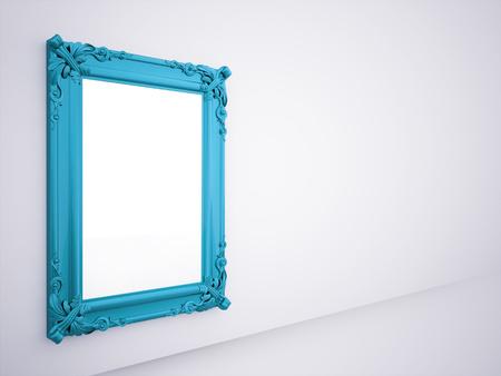 壁に表示される青いミラー フレーム 写真素材