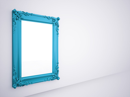 Blue mirror frame rendered on the wall Reklamní fotografie