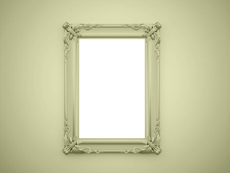 Green mirror frame on the wall rendered Stock Photo