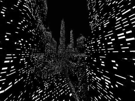 Big city night scene rendered on dark Stock Photo