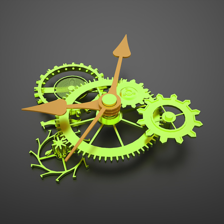 watch movement: Green clock mechanism gears with orange arrows on black background
