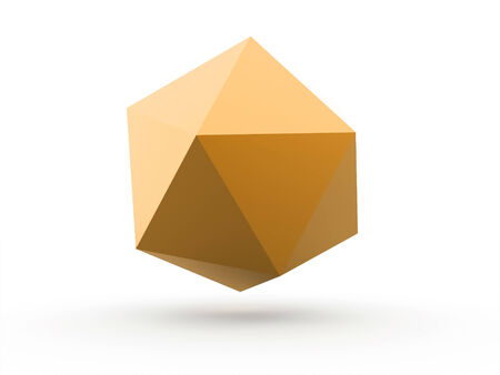 icosahedron: Abstract yellow polygonal sphere isolated on white background