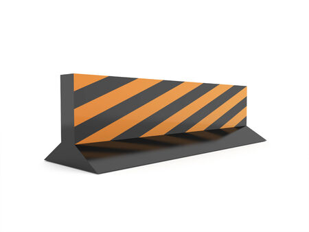 Road barrier construction rendered isolated on white background photo