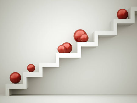Red spheres on stairs rendered photo
