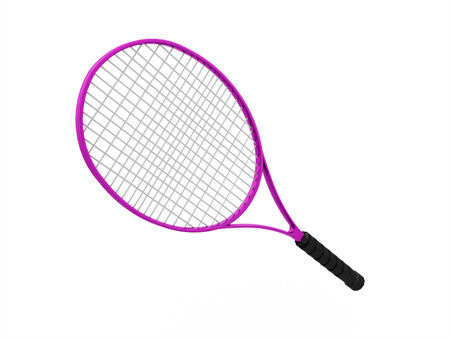 Pink tennis racket isolated on white background photo