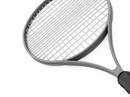 raquet: Tennis racket rendered on white background Stock Photo