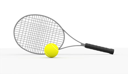 tenis: Tennis racket rendered isolated on white background Stock Photo