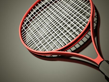 raquet: Red tennis racket rendered on dark background Stock Photo