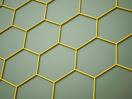 Yellow hexagonal mesh background rendered Stock Photo