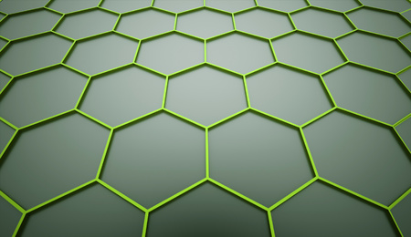 rendered: Green hexagonal mesh background rendered Stock Photo