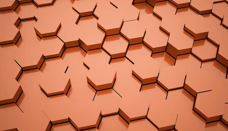 rendered: Orange hexagonal background rendered Stock Photo