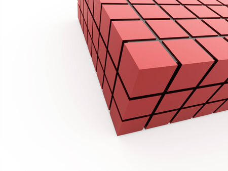 Red cubes rendered on white background photo