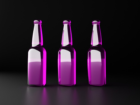 Three pink bottles photo