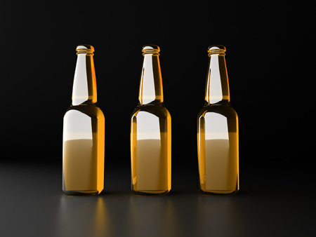Three yellow bottles rendered on black background photo