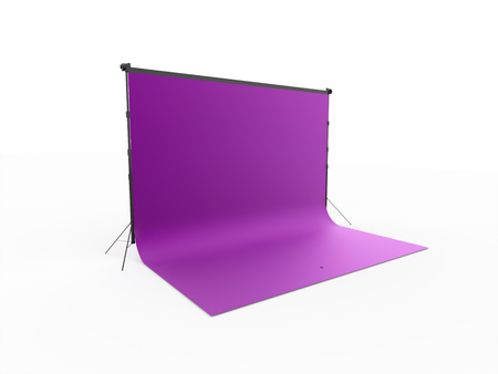 Purple canvas with stage rendered isolated on white background Stock Photo