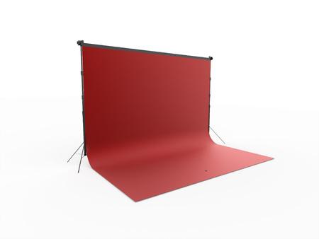 赤写真スタジオの分離の白い背景をレンダリング