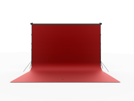 Red photo stage isolated on white background
