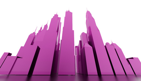 Purple city scene rendered on white background photo