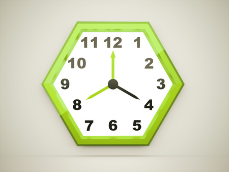 Green hexagonal clock rendered on dark background photo