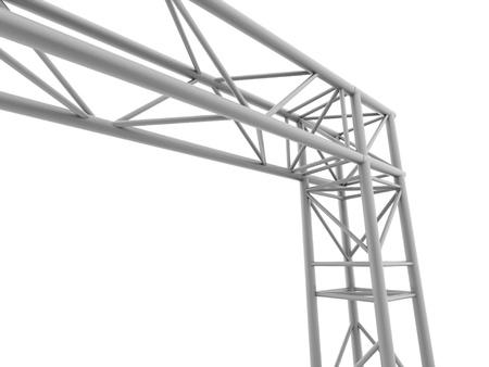白い背景の上の段階構造の鋼鉄コーナー