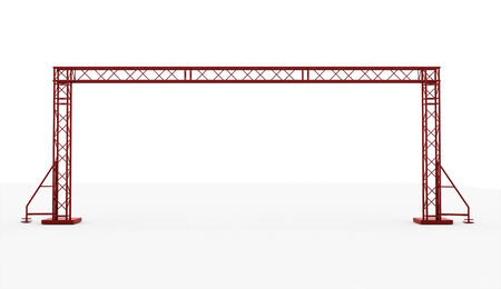 Red stage construction rendered isolated on white background photo