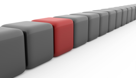 Business concept cubes one is red on white background photo