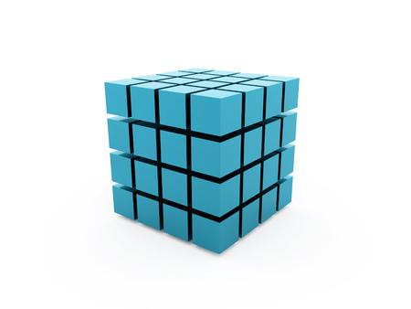 白い背景に分離された青いキューブ コンセプト