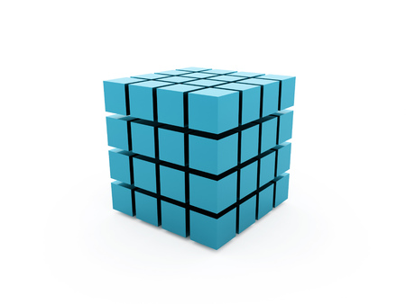 Blue cubes concept isolated on white background