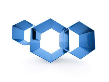 Blue hexagonal business cell background concept isolated photo