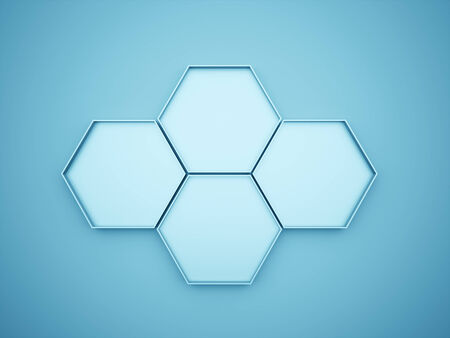 Blue hexagonal business concept photo