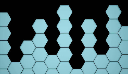 Blue hexagonal background on black photo
