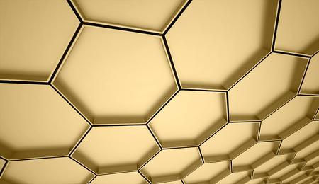 抽象的なゴールド メッシュ バック グラウンド レンダリング