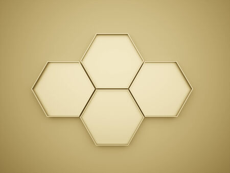 Gold hexagon cell rendered