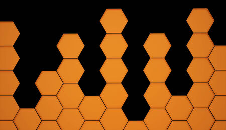 Orange hexagonal background on black photo